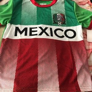 Red Green & White Mexico Flag Soccer Jersey Tee